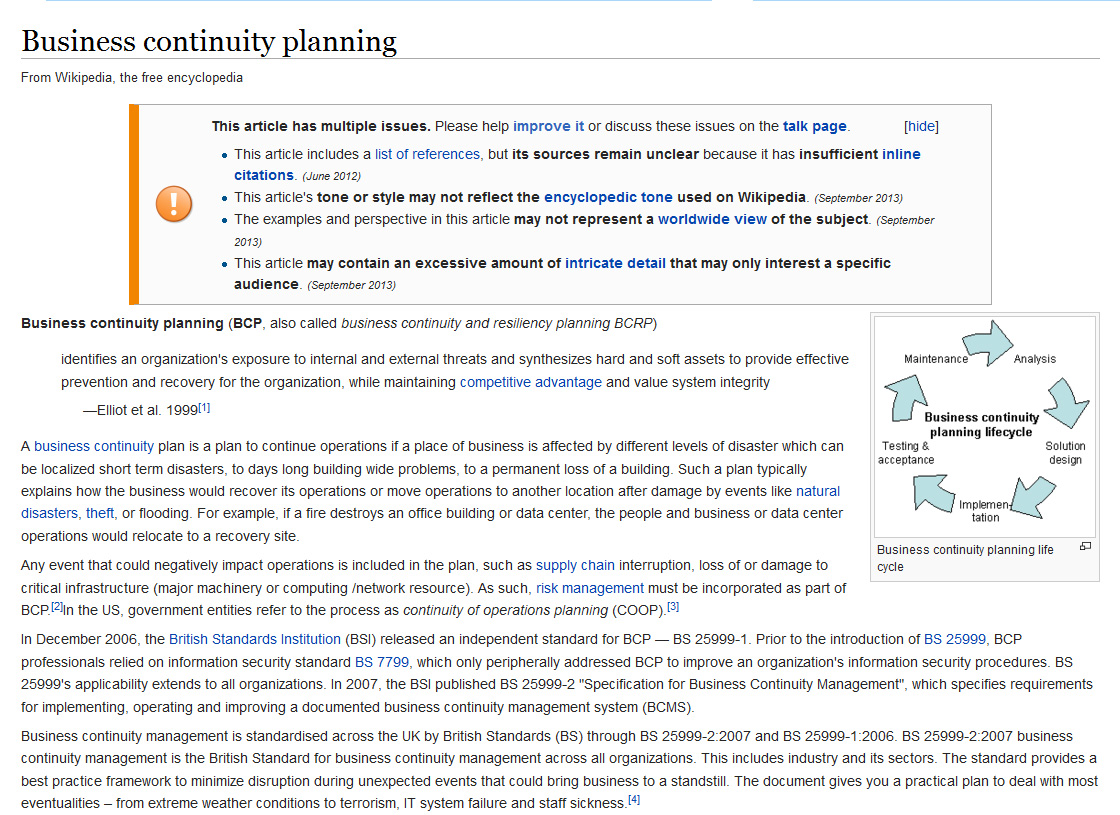 Business Continuity Management Resources – Simple Contingency Plan Example